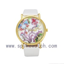 Fashion Style Hand Clock Waterproof Flower Dial Lady Watch White 2015