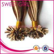 4/24 piano colors U-tip human hair extensions, 100 strands per bag