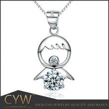 CYW Korea jewelry, 925 sterling silver necklace , Little angel zircon amethyst condole tip Silver jewelry wholesale
