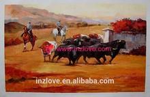 economic impression cowboy oil painting on canvas