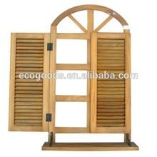 Handmade window shape wooden mirror for decoration