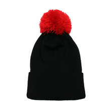 wholesale winter knitted black long beanie hat with pompom