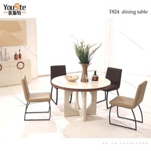 MDF round dining table set, round table with one leg