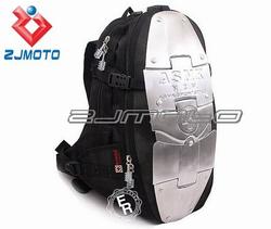 ZJMOTO Black Nylon Back Bag Silver Billet Shell Protector Nylon Back Bags All Motorcycle Rider carrier bag