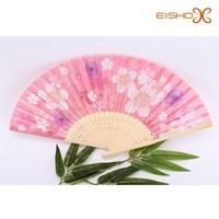 cheap silk hand fans wholesale fancy flower pink hand fans