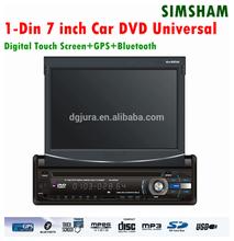 "7"" Screen single din dash Car DVD Player car radio with retractable screen/single din 7 inch car dvd GPS"