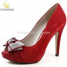 FLAMINGO 2015 LATEST ODM OEM Crystal Bow Ladies High Hheel Shoes Bridal Wedding Shoes Platform Peep Toe Evening Party Shoes