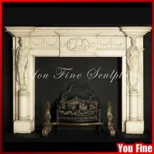 Indoor Used Freestanding Adrian Alan figural Chimneypiece European Marble Fireplace Mantel Surround Wood Burning Fireplace