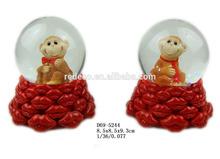 2016 valentine's day monkey snow globe