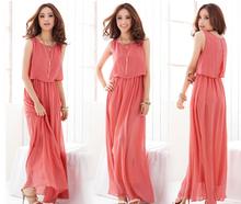 The new fashion puls size seaside resort Bohemian beach long skitr chiffon dresses sleeveless maxi dress quality version