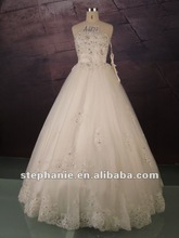 A6672 Elegant Ball Gown Beaded Bodice With Belt on Empire Line Wedding Dress 2012