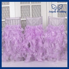 CH007J Gorgeous 2015 wholesale fancy popular frilly curly willow ruffled puffy lilac chair covers for weddings with ruffles