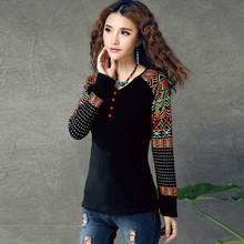 2015 Chinese Ethnic Style Style Splicing Large Size Base Cotton Long Sleeve T-shirt