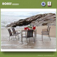 Stainless steel outdoor furniture steel teak restaurant outdoor furniture set