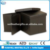 square PU outdoor storage bench