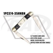 "3.5"" closed buffalo horn+bone handle zipped case pocket knife two blades(1PC374-35HNBN)"