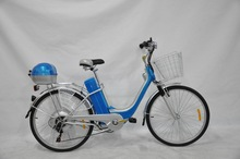 classic two seats electric bike with front rear basket and pedals