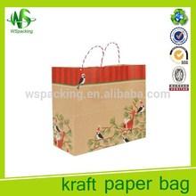Twisted handle carry bag brown kraft printed kraft paper bag