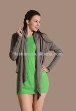 The Merino wool women's grey irregular cardigan sweater