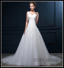 Custom made real photo spaghetti strap long tail appliqued beaded lace wedding dresses v neck open back