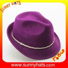 2015 Newest Winter 100% Wool Felt Purple Fedora Hat Wholesale Decorate Golden Ribbon