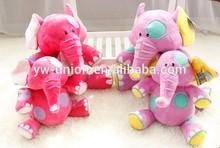 Lightful colour elephant Walking pink toys ,Shiny fur stuffed elephant toys