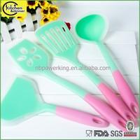 FDA LFGB colorful silicone coated nylon cooking utensil