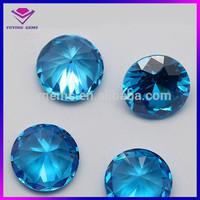 shining good quality aqua blue cubic zirconia round shaped loose beads cz