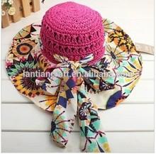 2015 New fashion straw promotion hat wide brim beach hat
