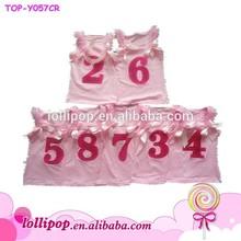 2015 New arrival baby girl bowknot chiffon Birthday wholesale tank top