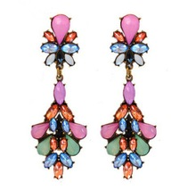 Drop acylic multicolor red ethnic imitation diamond jewelry earings big brincos dead cc allied express hot sale promotion