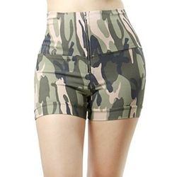 Frontal Zip-up Closure Camo Military Design Fashion Short Pants for Women