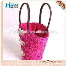 2015 summer ladies beach bag pink corn husk straw bag