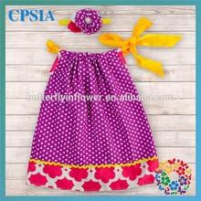 Purple Polk Dots With Hot Pink Flower New Model Girl Dress 2015 Birthday Dress 1 Year Old Girl