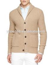 shawl collar chunky-knit cardigan mens sweater 2015 high fashion cheap wholesale mens sweater China supplier cardigan