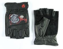 Men's fashion goat skin black driving leather gloves cut finger