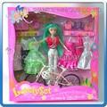 Mini qute kawaii bela americana látex menina de plástico moda boneca de presente decorar brinquedo educacional 6 clothes+bicycle não. Ys0626-5