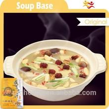 Tasty soup seasoning with raw fresh white farmer garlic varieties