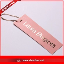 Sinicline Silver Foil Stamping Logo Printing Paper Hang Tag With Metal Ball Chain