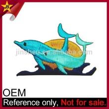 Factory Bulk Custom Kids Cute Sew On Embroidery Fish Dolphin Badges