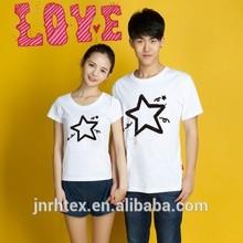 Fashion couple love custom design cotton printed couple t shirt in china