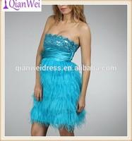 2015 brand new short aqua feather designer one piece party dress