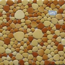 Irregular mosaic ceramic yellow bathroom wall tiles