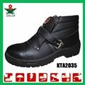 De cuero negro de media caña de encaje- up anti- smash de trabajo de la industria de acero- toe zapatos de seguridad a mediados de- oriente con el certificado del ce