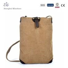 Classical khaki cotton canvas messenger bag
