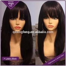 Top Quality Fashion Bangs Hairstyle Cheap Natural Human Hair Wigs For Black Women