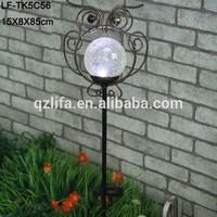 solar light glass ball garden owl iron stake