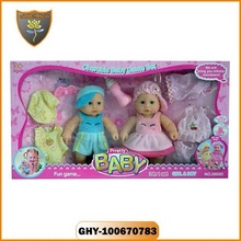 Crazy toys for kids mini 9 inch twins small baby dolls dancing twins dolls toys with feeding bottle sets ,clothes