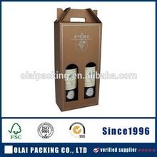 wholesale kraft paper wine packaging case with handle