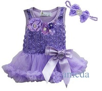Baby Girls Crystal Rosettes Lavender Bodysuit Pettiskirt Tutu and Headband Party Dress NB- 18M